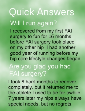 My image states I was able to run like I could before FAI came into my life after 33 weeks.