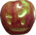 Red Apple with carved face